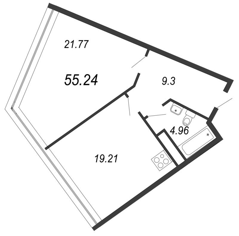 Планировка Однокомнатная квартира площадью 55.24 кв.м в ЖК «Апарт-комплекс Next (Некст)»