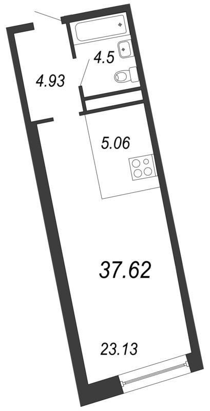 Планировка Однокомнатная квартира площадью 37.62 кв.м в ЖК «Апарт-комплекс Next (Некст)»