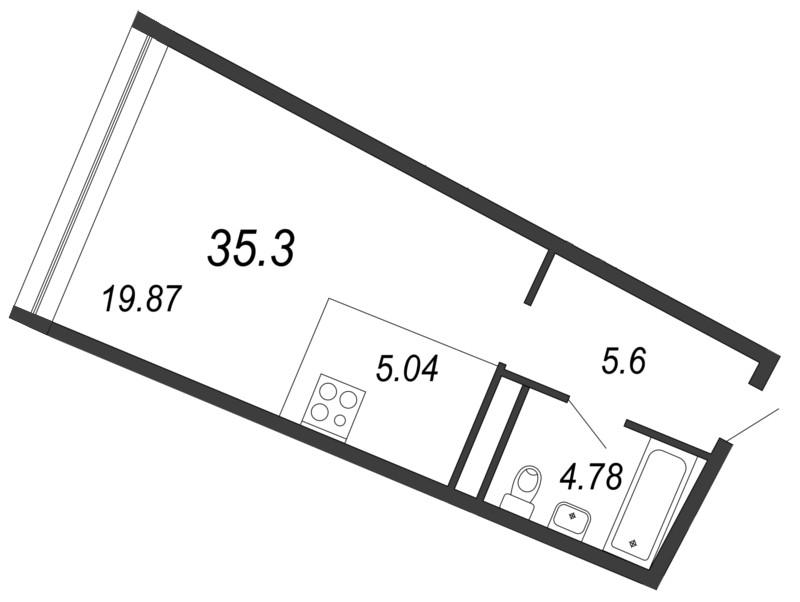 Планировка Однокомнатная квартира площадью 35.3 кв.м в ЖК «Апарт-комплекс Next (Некст)»