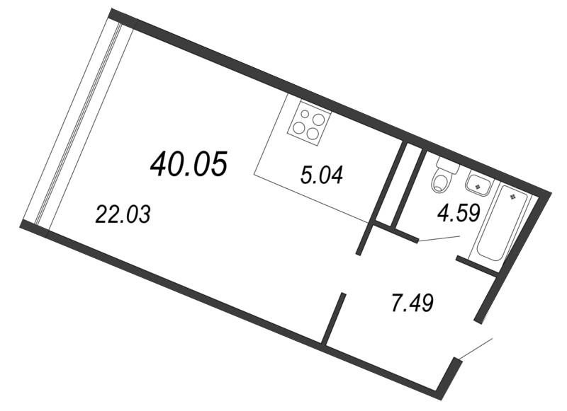 Планировка Однокомнатная квартира площадью 40.05 кв.м в ЖК «Апарт-комплекс Next (Некст)»