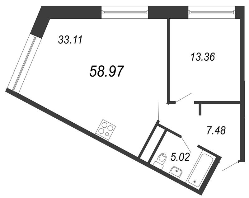 Планировка Однокомнатная квартира площадью 58.97 кв.м в ЖК «Апарт-комплекс Next (Некст)»