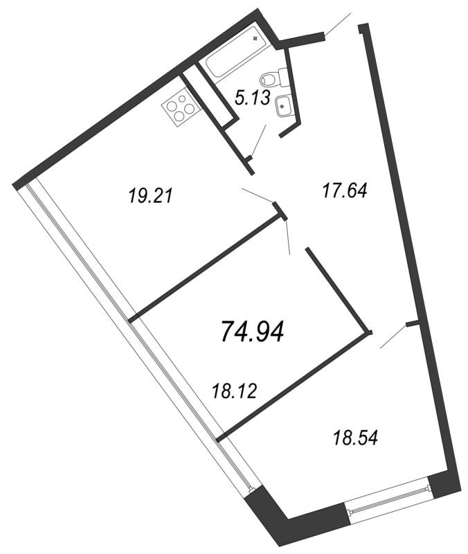 Планировка Двухкомнатная квартира площадью 74.94 кв.м в ЖК «Апарт-комплекс Next (Некст)»